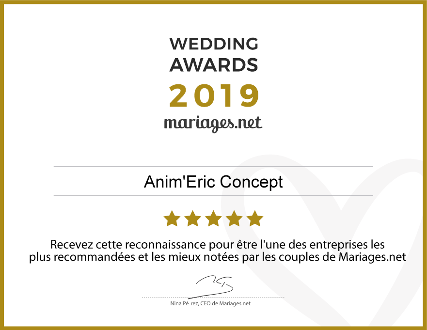 Anim'Eric Concept, gagnant Wedding Awards 2019 Mariages.net